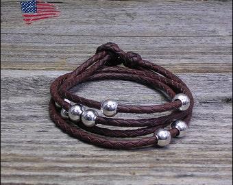 Leather Wrap Bracelet -- Detangle