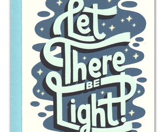 Let There Be Light Hand Lettered Holiday Card