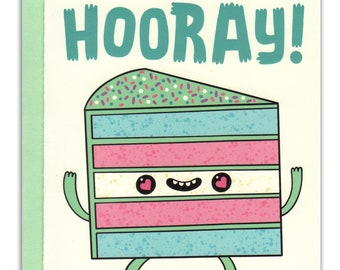Hooray Trans Flag Cake Card