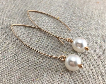 Dangling Pearl Earrings, Swarovski Pearl Earrings, Crystal Pearl Earrings, Rose Gold Earrings, Pearl Bridal Earrings, Bridesmaids Ask Gifts