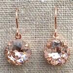 Swarovski Crystal Blush Pink Cushion Cut Rose Gold Dangling Bridal Earrings Bridesmaids Gifts Wedding Jewelry Brides Faux Morganite Earrings