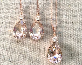 Swarovski Crystal Blush Pink Rose Gold Earrings Necklace Set with Pavé Detail Bridal Wedding Jewelry Necklace Set Bridesmaids Gifts