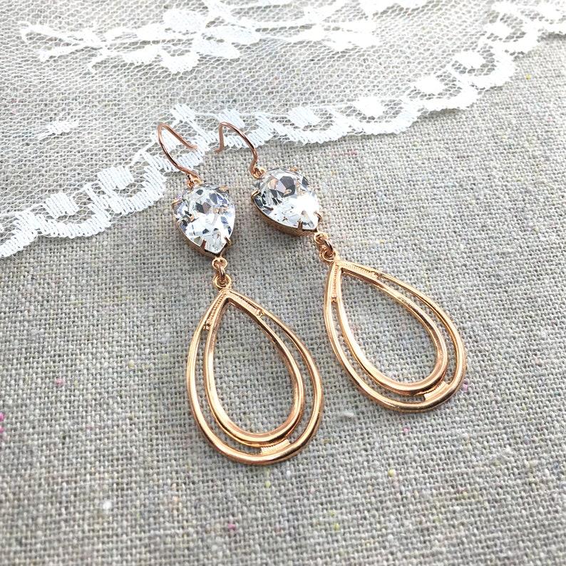 Swarovski Crystal Earrings Dangling Hoop Earrings Rose Gold image 0