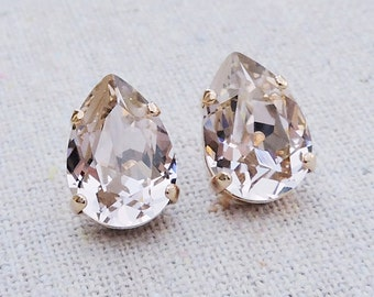 Swarovski Blush Pink Crystal Teardrop Rhinestone Pear Rose Gold Post Earrings Wedding Bridal Jewelry Bridesmaids Presents Gift for Her