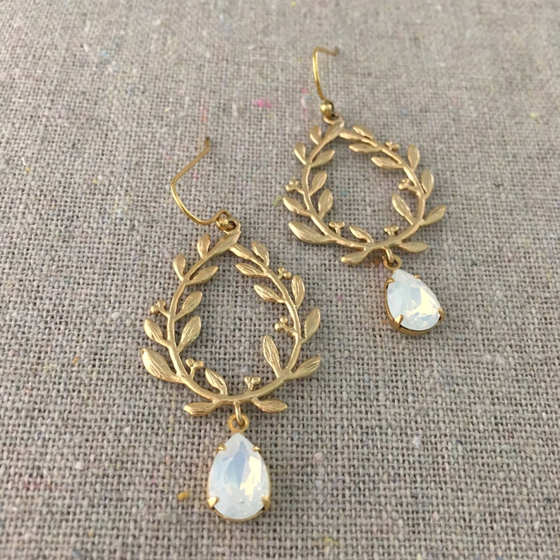 Swarovski Crystal Dangling Earrings Gold Boho Bridal image 0