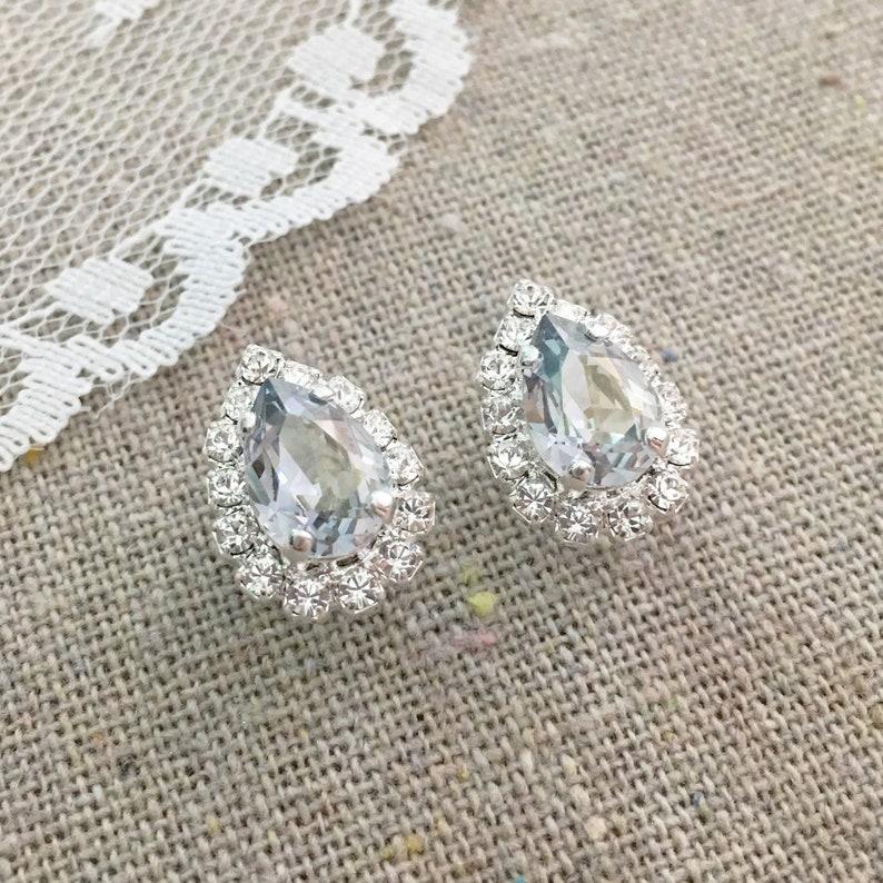 Swarovski Crystal Dusty Blue Earrings French Blue Silver image 0