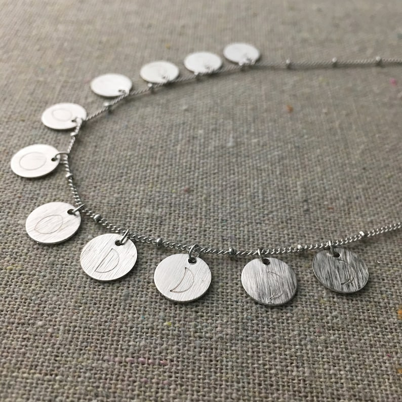 Just a Phase Satellite Chain Moon Phases Charm Necklace image 0