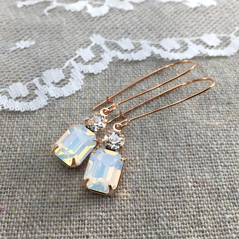 Swarovski Crystal Bridal Earrings White Opal Crystal Rose image 0
