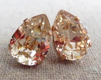 Swarovski Champagne Crystal Teardrop Rhinestone Pear Rose Gold Post Earrings Wedding Bridal Jewelry Bridesmaids Presents Gift for Her