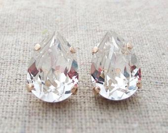 Swarovski Crystal Faux Diamond Teardrop Rhinestone Pear Rose Gold Post Earrings Wedding Bridal Jewelry Bridesmaids Presents Gift for Her