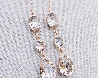 Swarovski Crystal Blush Pink Teardrop Long Dangling Morganite Rose Gold Bridal Earrings Wedding Jewelry Bridesmaids Gifts
