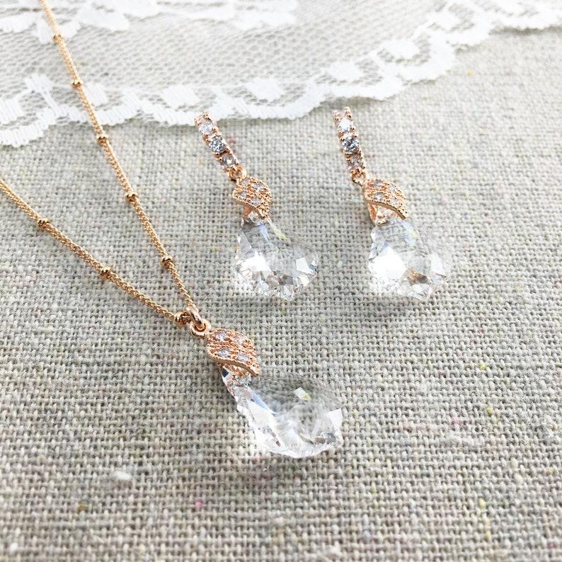 Swarovski Crystal Bridal Jewelry Set Baroque Faux Diamond image 0