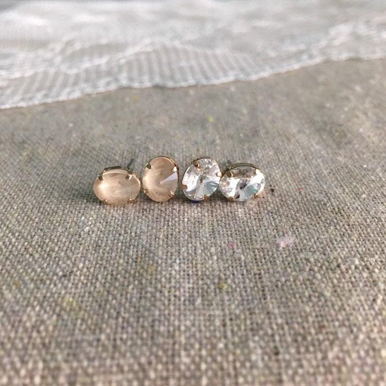 Swarovski Crystal Tiny Oval Post Earrings Oval Rivoli Stud image 0