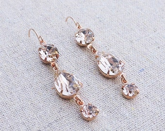 Swarovski Crystal Blush Pink Teardrop Simple Delicate Dangling Morganite Rose Gold Bridal Earrings Wedding Jewelry Bridesmaids Gifts