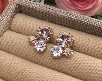 Swarovski Crystal Earrings, Rhinestone Cluster Earrings, Blush Pink Post Earrings, Rose Gold Stud Earrings, Custom Color Bridesmaid Earrings