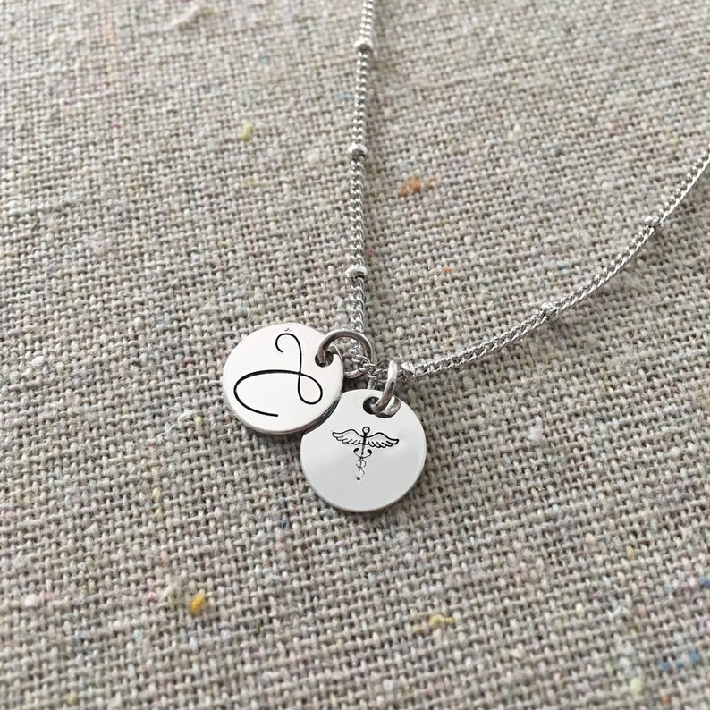 Monogram Charm Necklace  Initial Coin Pendant Necklace  image 0