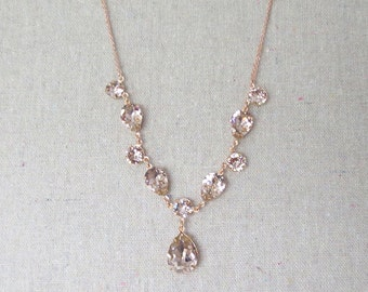 Swarovski Crystal Blush Pink Bridal Necklace, Rose Gold Brides Necklace, Custom Wedding Jewelry, Pale Pink Teardrop Statement Necklace