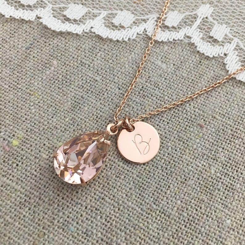 Swarovski Blush Pink Teardrop Crystal Rose Gold Necklace image 0