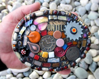 Until The End Of Time. (Mixed Media Mosaic On Found Stone by Shawn DuBois)