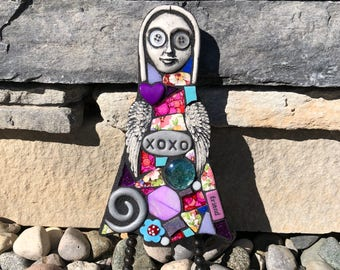XOXO. (Original Small Handmade Mixed Media Mosaic Doll Wall Hanging by Shawn DuBois)