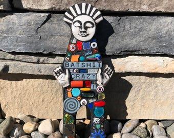Batshit Crazy. (A Handmade Mixed Media Mosaic Scrap Doll Wall Hanging by Shawn DuBois)