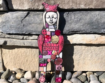 Nasty Woman. (Handmade Mixed Media Mosaic Junk Assemblage Art Doll by Shawn DuBois)