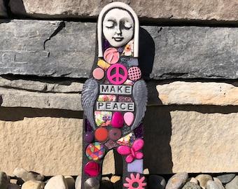 Make Peace. (Handmade Artdoll Wall Hanging Mixed Media Mosaic Scrap Assemblage by Shawn DuBois)