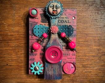 Art Brush Doll. (Handmade Original Altered Paint Brush Assemblage by Artist Shawn DuBois)