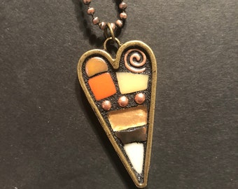 Mosaic Heart. (Small Handmade Original Mosaic Heart Pendant Necklace by Shawn DuBois)