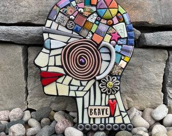 Brave. (Handmade Original Mixed Media Assemblage Mosaic Head Wall Hanging by Artist Shawn DuBois)