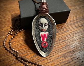Old Spoon Pendant. (Repurposed Old Spoon Mixed Media Mosaic Pendant Necklace by Artist Shawn DuBois)