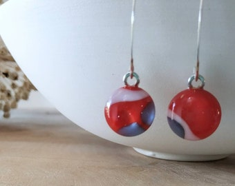 Red Dangle Earrings in Glass 925 Silver Ear wires,  free shipping