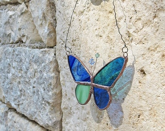 Boho Stained Glass Butterfly,  Patchwork Butterfly, Glass Suncatcher, Handmade in France by PamelaAngus