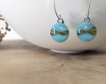 Light Blue Glass Dangle Earrings and 925 Silver Ear wires,  free shipping