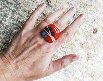 Red Statement Ring, free shipping