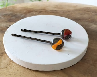 Bobby Pins, Fused Glass Bobby Pins, Hair Accessory, Colourful Bobby Pins, Handmade Bobby Pins, Glass Clips