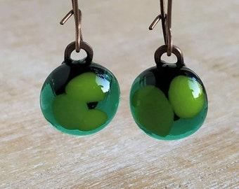 Green Earrings fused glass dangle earrings , free shipping