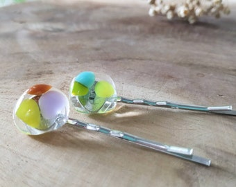 Hair Accessories, Bobby Pins, Fused Glass Bobby Pins, Hair Accessory, Colourful Bobby Pins, Handmade Bobby Pins, Glass Clips