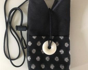 Little Black Purse with Homespun Japanese Fabric Pocket