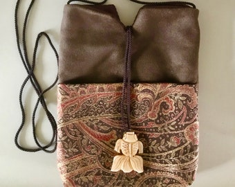 Handy Cross Body Purse with Embroidered Pocket