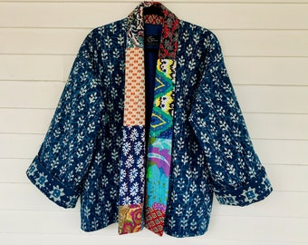 Contemporary Kimono in Blue with Patchwork Collar