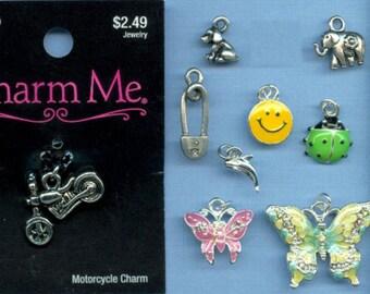 9 Charm Lot - Silver Tone, Pewter, Enamel & Swarovski - Wholesale