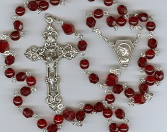 Handmade Ruby Red Czech Glass Rosary ~July Birthstone