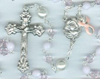 Handmade Pink Czech Glass Breast Cancer Rosary ~ Guardian Angel & St. Agatha
