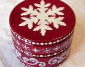 Hand Painted Love Boxes Red Snowflake Box Wood