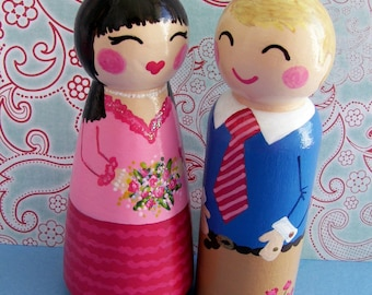 Hand Painted Love Boxes Custom Anniversary Engagement Couple Peg Dolls Wood