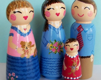 Hand Painted Love Boxes Custom Family of Four Peg Dolls Wood