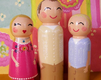 Hand Painted Love Boxes Custom Kokeshi Family Wood Peg Dolls