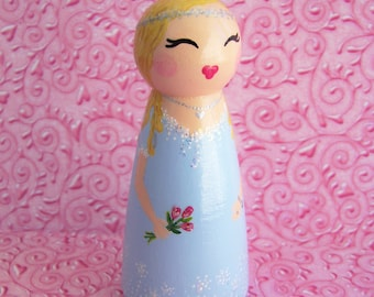 Hand Painted Love Boxes Sleeping Beauty Aurora Peg Doll Wood