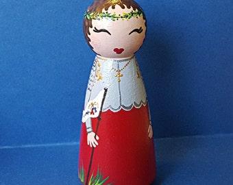 Hand Painted Love Boxes Joan of  Arc Custom Peg Doll Wood